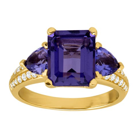 Simulated Tanzanite & Cubic Zirconia Ring in 14K Gold-Plated Sterling Silver - Purple