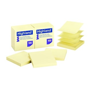 Highland Pop-Up Self-Stick Notes, 3 x 3, Yellow, Pad of 100, Pack of 12