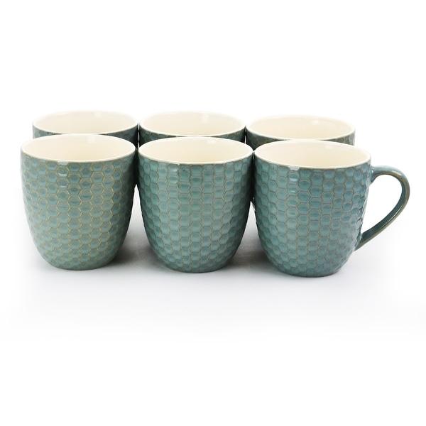 Elama Honeycomb 6 Piece 15 oz. Mug Set in Turquoise. Opens flyout.