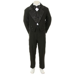Angels Garment Toddler Little Boys Black Notched Tuxedo 5 Pc Set 6M-20