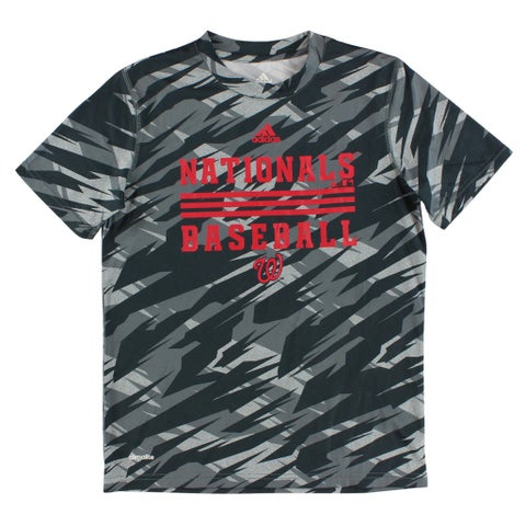 Adidas Boys Washington Nationals MLB Clima Dugout T Shirt Grey - grey/dark grey/red - M
