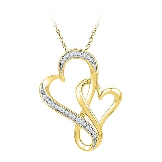 Twin Heart Pendant 10K Yellow-gold With Diamonds 0.125 Ctw By MidwestJewellery - White