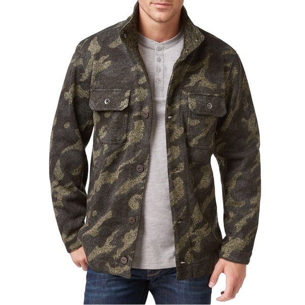 Weatherproof NEW Green Mens Size Medium M Camo Knit Shirt Jacket