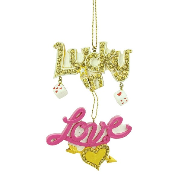 "4.5"" Fashion Avenue Lucky in Love Las Vegas Dice Christmas Ornament - PInk"