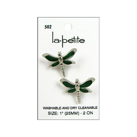 """LaPetite Buttons 1"""" Shank Dragonfly Silver/Grn 2pc"""