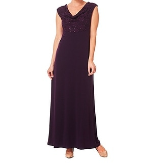 Connected Apparel NEW Purple Women's Size 16 Sequin Draped Ball Gown