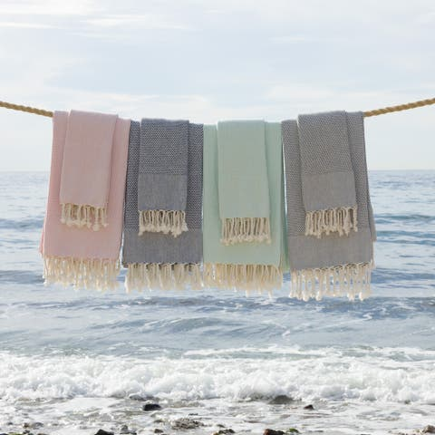 Authentic Hotel and Spa 100% Turkish Cotton Fun in Paradise Pestemal Beach and Hand Towel Set