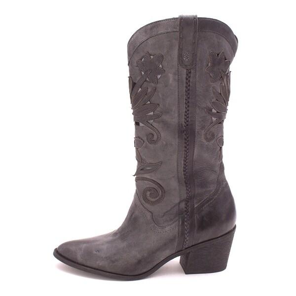 Carlos by Carlos Santana Womens Ace Leather Almond Toe Mid-Calf Cowboy Boots