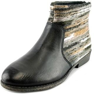 OTBT Tilton Women Round Toe Leather Black Ankle Boot