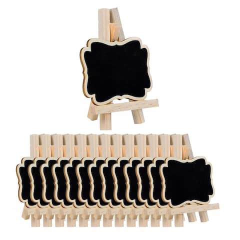 14pcs Wood Mini Chalkboard Signs w Support Easel for Wedding Message Board - Black,Wood Color