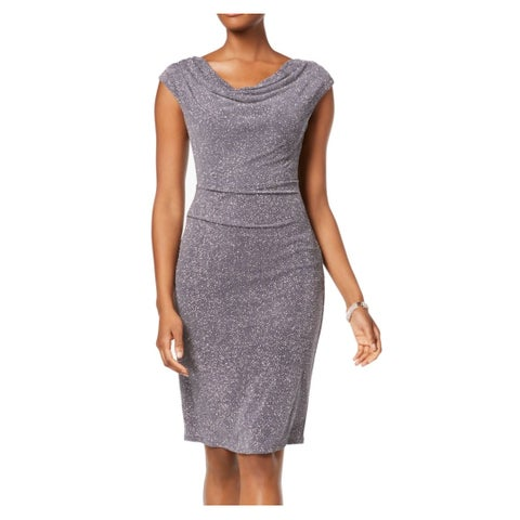Jessica Howard Gray Womens Size 14 Ruched Shimmer Sheath Dress