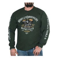 Harley-Davidson Men's Righteous Crew-Neck Long Sleeve Shirt - Forest Green