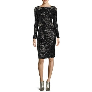 David Meister Two Tone Sequined Long Sleeve Sheath Cocktail Dress Black