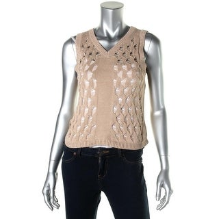 Nanette Lepore Womens V-Neck Cut-Out Sweater Vest - S