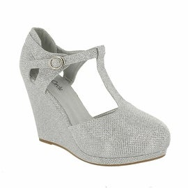 Red Circle Footwear 'Kana' Glitter T-strap Pump Wedge