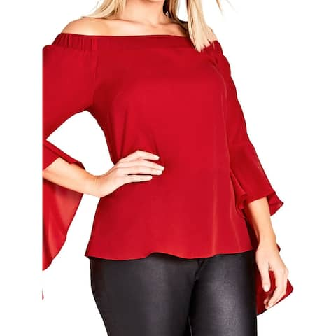 City Chic Red Ruby Women's Size 24 (XXL) Plus Bell-Sleeve Blouse