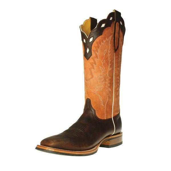 Cinch Western Boots Mens Scalloped Square Piping Dark Brown