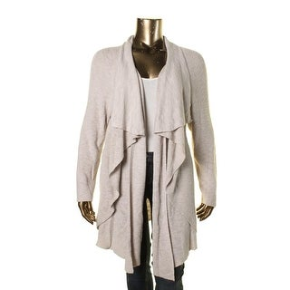 Nic + Zoe Womens Plus Ribbed Knit Asymmetric Cardigan Sweater