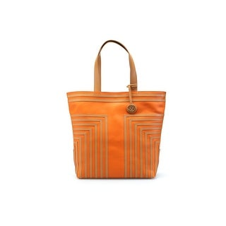 Tory Burch Women's Leather Handbag Tote T Tory Orange Aged Vachetta - Multi - M