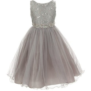 Flower Girl Dress Glitters Sequin Top Rhinestone Sash Silver MBK 340