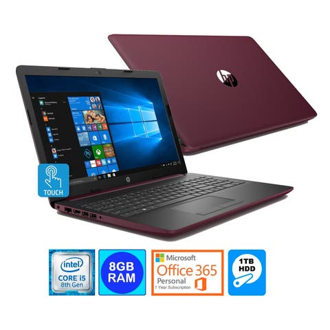 HP 15.6 TouchScreen Laptop Intel i5-8250U 8GB 1TB HDD Office 365 (Refurbished) - Burgundy