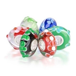 Bling Jewelry Set of Six Bundle 3D Multicolored Hibiscus Flower Murano glass Lampwork Charm Beads .925 Sterling Silver