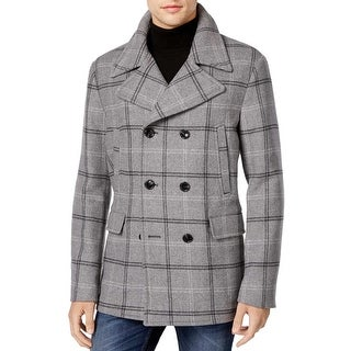 Michael Kors Mens Plaid Wool Blend Peacoat Grey Melange Medium M