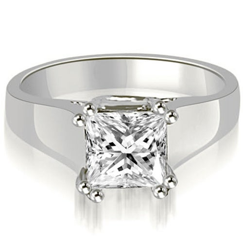 0.75 cttw. 14K White Gold Dual Prong Solitaire Princess Diamond Engagement Ring