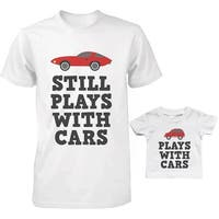 Plays With Cars Dad and Baby Matching T-Shirts