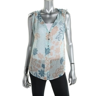 Lucky Brand Womens Sheer Floral Print Blouse - S