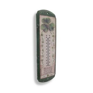 Irish Blessing and Shamrocks Metal Thermometer - Green