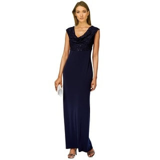 Connected Apparel Sleeveless Draped Front Evening Gown Dress