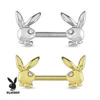 Playboy Bunny with Gemmed Eye 316L Surgical Steel Nipple Bar (Sold Individually)