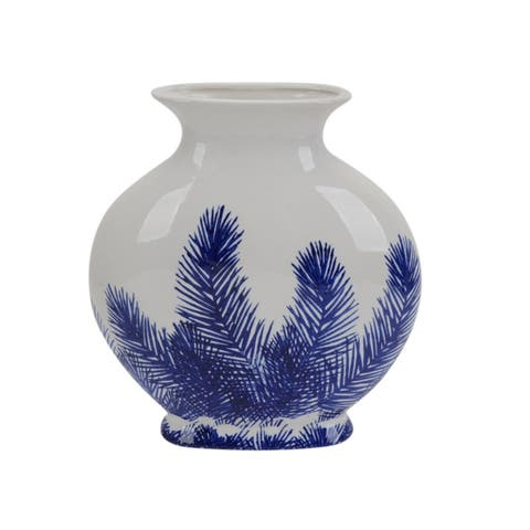 Beautifully Designed Ceramic Fern Vase, Blue And White