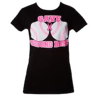 "Womens Breast Cancer Awareness ""Save Second Base"" Black T-Shirt"