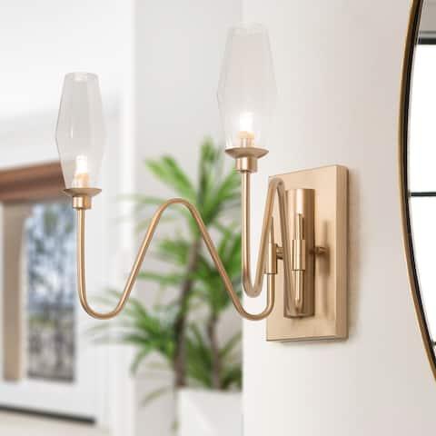 Modern Gold Bathroom Vanity Lights Glass Wall Sconces