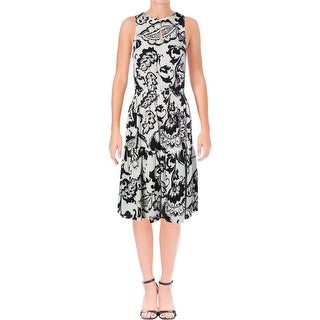Lauren Ralph Lauren Womens Petites Cocktail Dress Crepe Printed