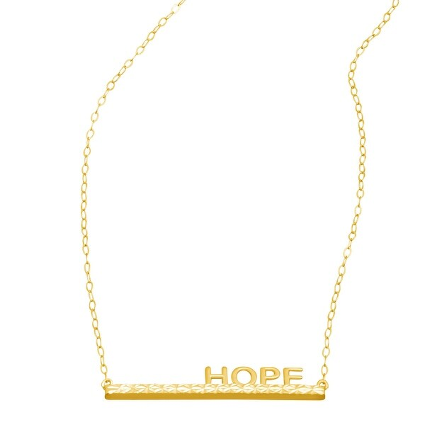 Just Gold 'Hope' Horizontal Bar Necklace in 14K Gold - Yellow