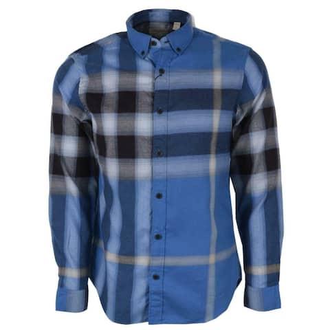 Burberry Brit Fred Bright Opal Blue Nova Check Cotton Long Sleeve Shirt