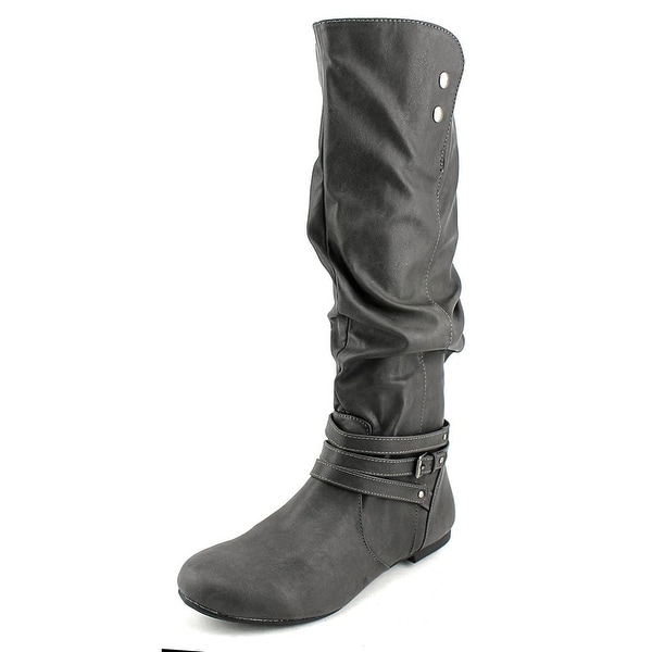 Fergalicious Lyla Women Round Toe Synthetic Gray Knee High Boot