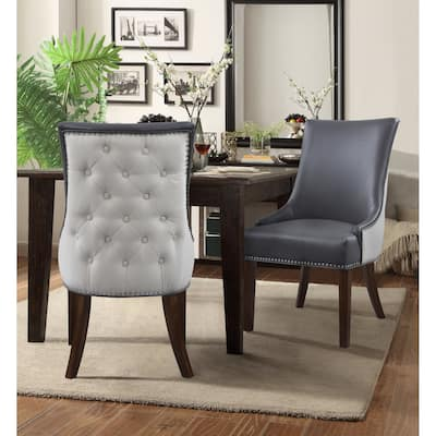 Chic Home Cooper PU Leather Linen Upholstered Dining Chair, Set of 2