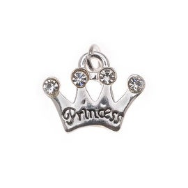 Silver Plated Princess Crown Charm Adorned With SWAROVSKI ELEMENTS Crystals 14mm (1)