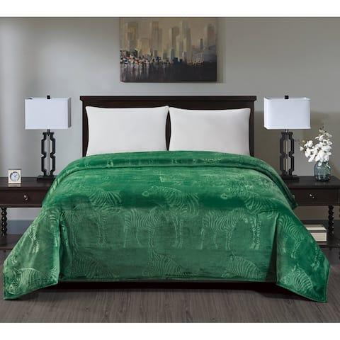 Zebra Embossed Blanket Queen Green