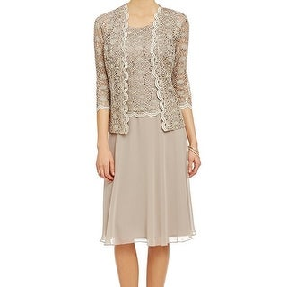 R&M Richards NEW Beige Mocha Lace Sequin Women's 18 Chiffon Dress Set