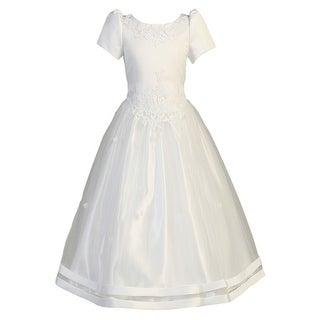 Girls White Satin Ribbon Tulle Overlay First Communion Dress 7-20X