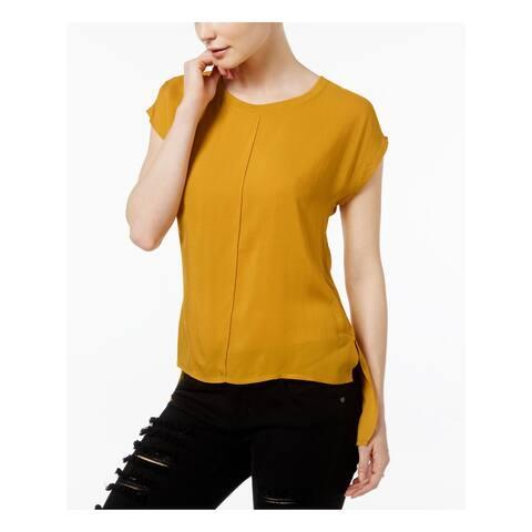 FAIRCHILD Womens Gold Cap Sleeve Jewel Neck Hi-Lo Top Size S