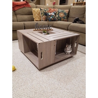 Furniture of America 'The Crate' Square Coffee Table with Open Shelf