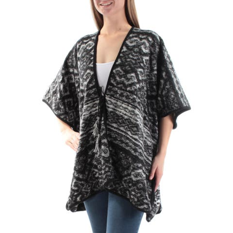 LUCKY BRAND Womens Gray Tie Printed Kimono Sleeve Open Cardigan PONCHO Sweater Size: ONE SIZE