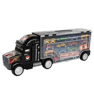 Costway Portable Truck Carrier Container Toy 8 PCs Alloy Car Set