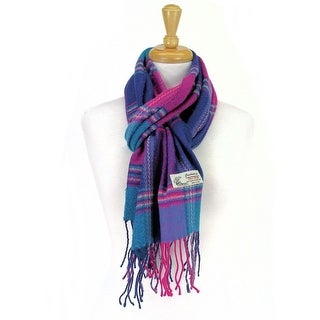 Plaid Cashmere Feel Classic Soft Luxurious Scarf For Men and Women - Purple